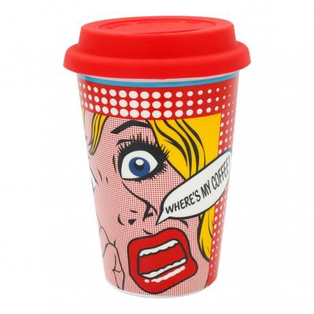 Gote Qeramike me Kapak Gome Where's My Coffee Pop Art