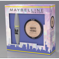 Maybelline Set Rimel Volum Express Black + Hightlighter Master Chrome